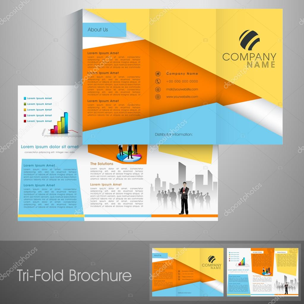 professional business trifold flyer stock vector professional business trifold flyer template catalog or corporate brochure front and back page presentation vector by alliesinteract