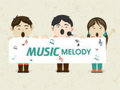 Musical concept with little kids. — Stock Vector