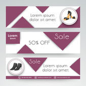 Sale of woman sandal web header or banner. — Stock Vector