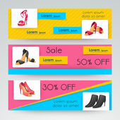Sale of women's sandal web header or banner. — Stock Vector