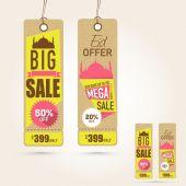 Hanging Sale tags on occasion of Eid Mubarak festival celebratio — Stock Vector