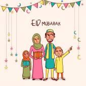 Happy muslim family celebrating Eid Mubarak festival. — Stock Vector