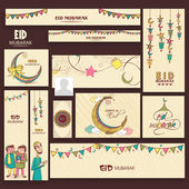 Eid Mubarak celebration social media headers or banners. — Stock Vector
