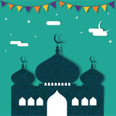 Floral decorated mosque for Ramadan Kareem celebration. — Stock Vector