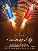 American Independence Day celebration fireworks. — Stock Vector