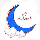 Blue moon with clouds for Eid Mubarak celebration. — Stock Vector