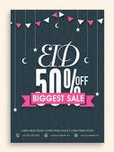 Biggest sale poster or flyer for Eid celebration. — Vector de stock