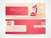 Web header or banner of girls sandal store. — Stock Vector