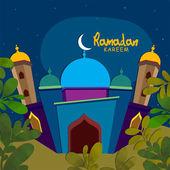Beautiful mosque for Ramadan Kareem celebration. — Stock Vector