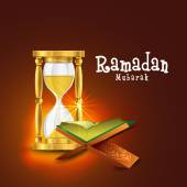 Ramadan Kareem celebration with Quran Shareef and sand clock. — Stock Vector