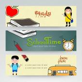Web header or banner design of school time. — Stock Vector