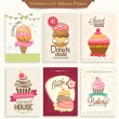 Collection of bakery flyers for sweet house. — Stock Vector #72993421