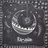 Floral crescent moon for Ramadan Kareem celebration. — Stock Vector