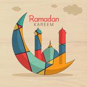 Créative lune et la mosquée pour la célébration du Ramadan Kareem. — Vecteur