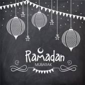 Greeting card for holy month, Ramadan Kareem celebration. — Stock Vector