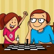 Father and daughter playing chess for Father's Day. — Stock Vector #73406619