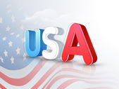 American Independence Day celebration with 3D text. — Stock Vector