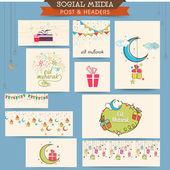 Social media ads, header or banner for Eid celebration. — Vector de stock