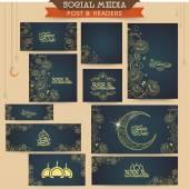 Social media ads, header or banner for Eid celebration. — Stock Vector