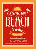 Invitation card design for beach party. — Stock Vector