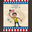 Cute boy with flag for American Independence Day celebration. — Stock Vector #74731793