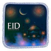 Beautiful greeting card for Islamic festival, Eid celebration. — Stock Vector