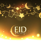 Eid Mubarak celebration greeting card. — Stock Vector