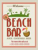 Template, brochure or flyer design for beach bar. — Stock Vector