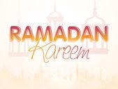 Stylish text, mosque and lanterns for Ramadan Mubarak. — Stock Vector