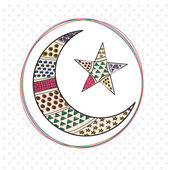 Crescent moon with star for Eid festival celebration. — Stock Vector