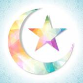Creative colorful moon and star for Eid celebration. — Stock Vector