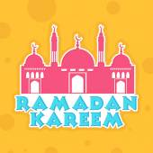 Sticker or label design with mosque for Ramadan Kareem. — Stock Vector