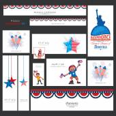 American Independence Day social media ads or headers. — Stock Vector