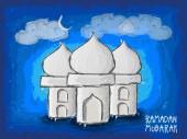Kreatywnych Meczet ramadan kareem uroczystości. — Wektor stockowy