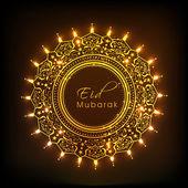 Bella cornice floreale decorato per eid celebrazione di mubarak. — Vettoriale Stock