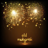 Greeting card with firecrackers for Eid Mubarak celebration. — Stock Vector