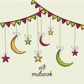 Eid Mubarak celebration greeting card design. — Stock Vector