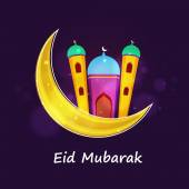 Beautiful mosque with moon for Eid festival celebration. — Stock Vector