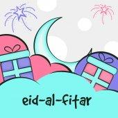 Greeting card for Eid festival celebration. — Stock Vector