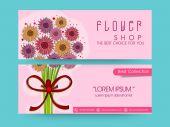 Έννοια της λουλούδι κατάστημα σχεδίαση κεφαλίδας. — Διανυσματικό Αρχείο