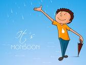 Cute boy for Happy Monsoon Season. — Stock Vector