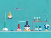 Vaso de precipitados químico y frasco para la ciencia. — Vector de stock