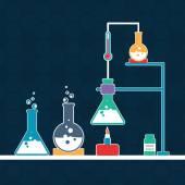Laboratorio de Ciencias con material de laboratorio. — Vector de stock