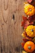 Decorative pumpkins and autumn leaves halloween background — Stock Photo