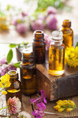 Essential oils and medical flowers herbs  — Stock Photo