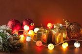 Burning christmas lanterns and decoration background — Foto de Stock