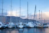 Zimní pohled na marina v trondheimu — Stock fotografie