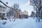 Winter view of street in Trondheim city Norway  — Stock fotografie