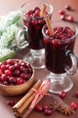 Glass of mulled wine with cranberry and spices, winter drink — 图库照片