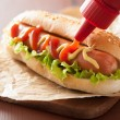 Hot dog with ketchup mustard and lettuce — Stock Photo #58367257